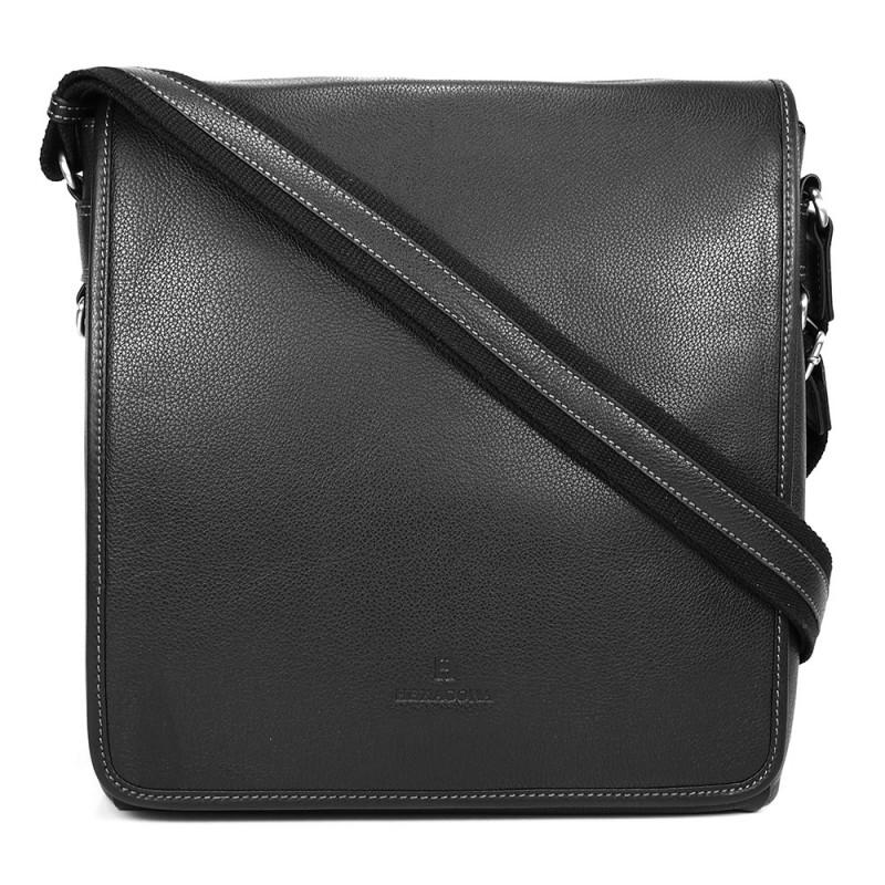 Pánská celokožená taška přes rameno Hexagona 469563 - černá