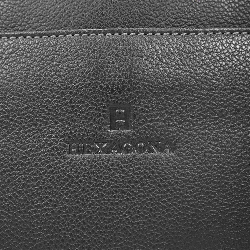 Černá kožená aktovka Hexagona 462698