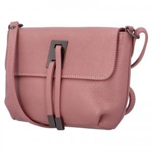 Dámská crossbody kožená kabelka Delami Salina - růžová