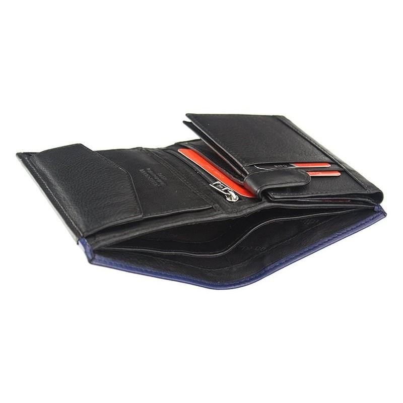 Pánská kožená peněženka Pierre Cardin Saturn - černo-modrá