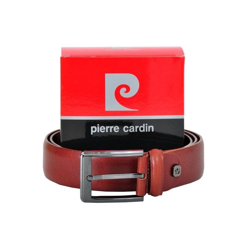 Hnědý kožený pánský opasek Pierre Cardin 5103