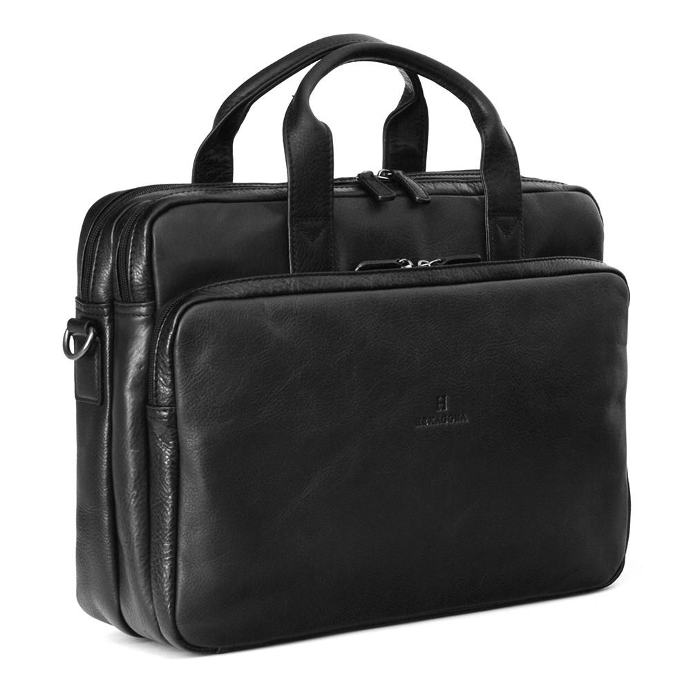 Pánská kožená taška přes rameno Hexagona 129479 - černá e320e30f8d3