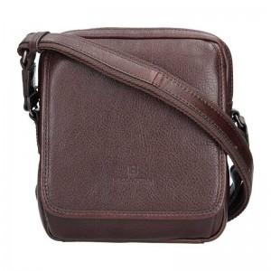 Pánská kožená taška přes rameno Hexagona 129898 - tmavě hnědá