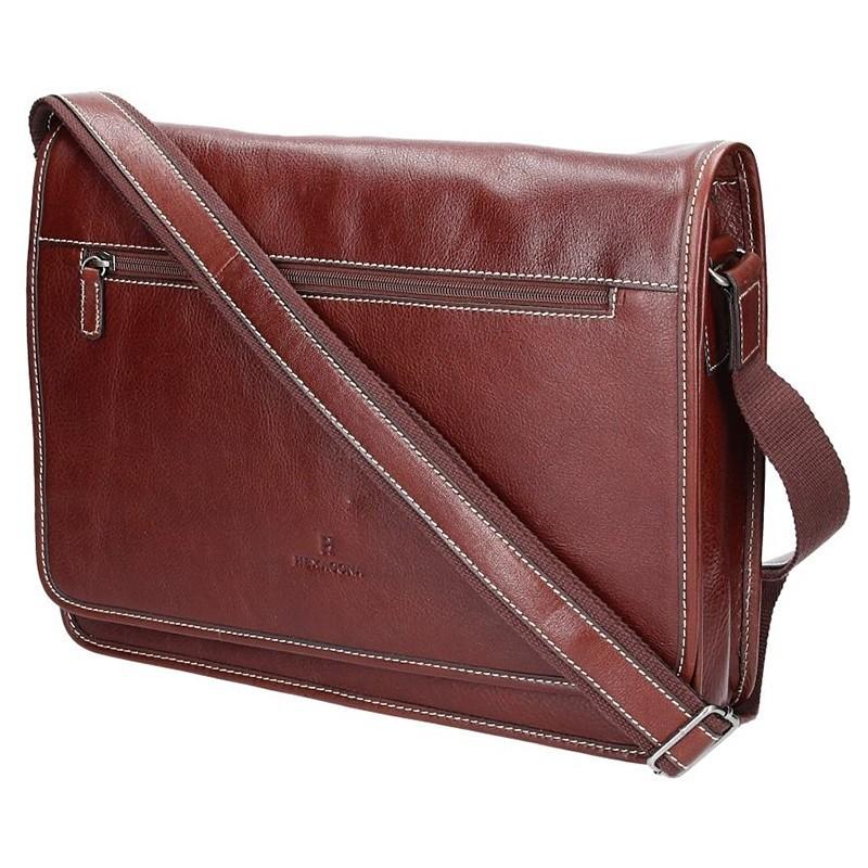 Pánská celokožená taška přes rameno Hexagona 123482 - koňak