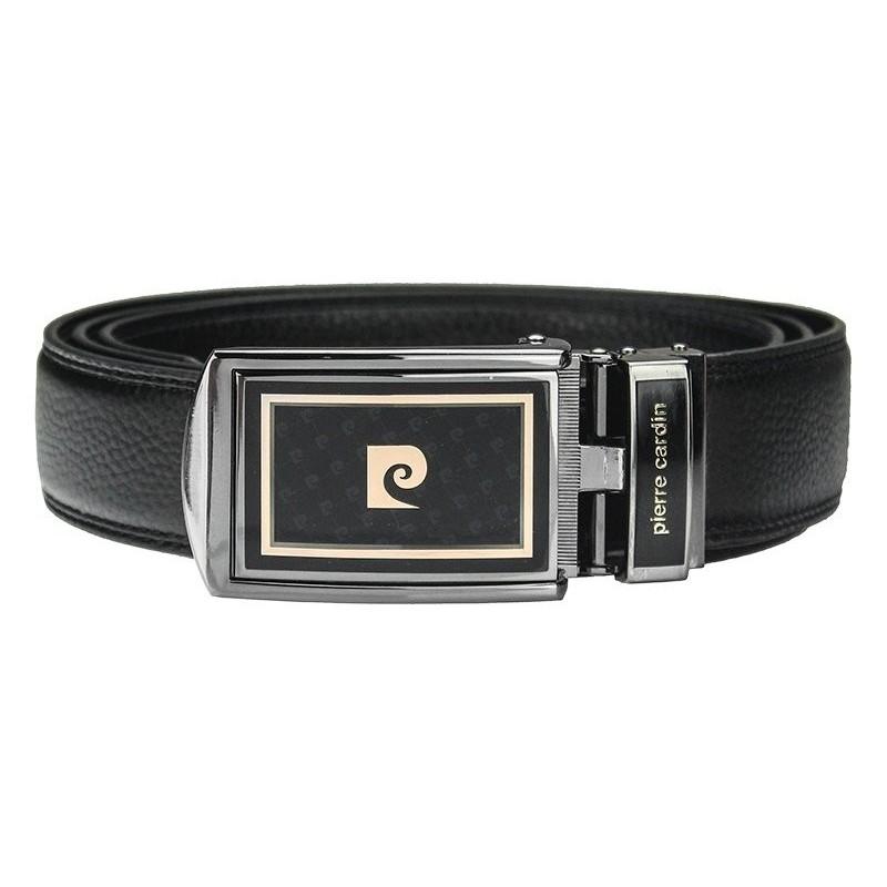 fc0a69856ff Černý kožený pánský opasek Pierre Cardin Apolon