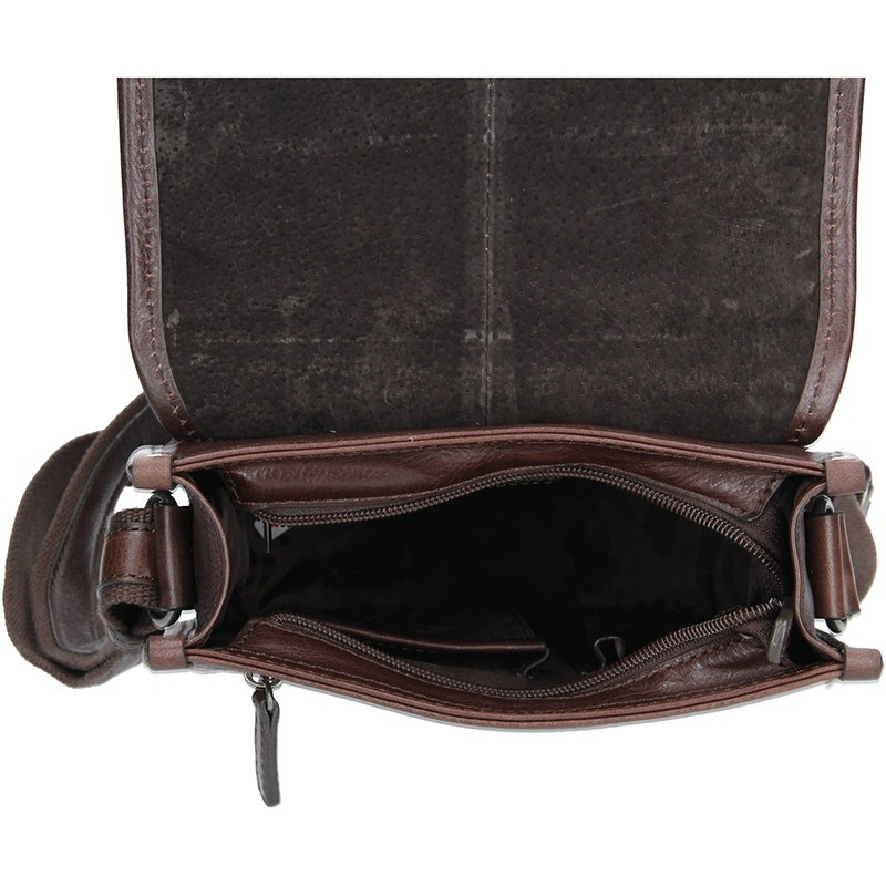 Pánská kožená taška přes rameno Hexagona 129483 - tmavě hnědá