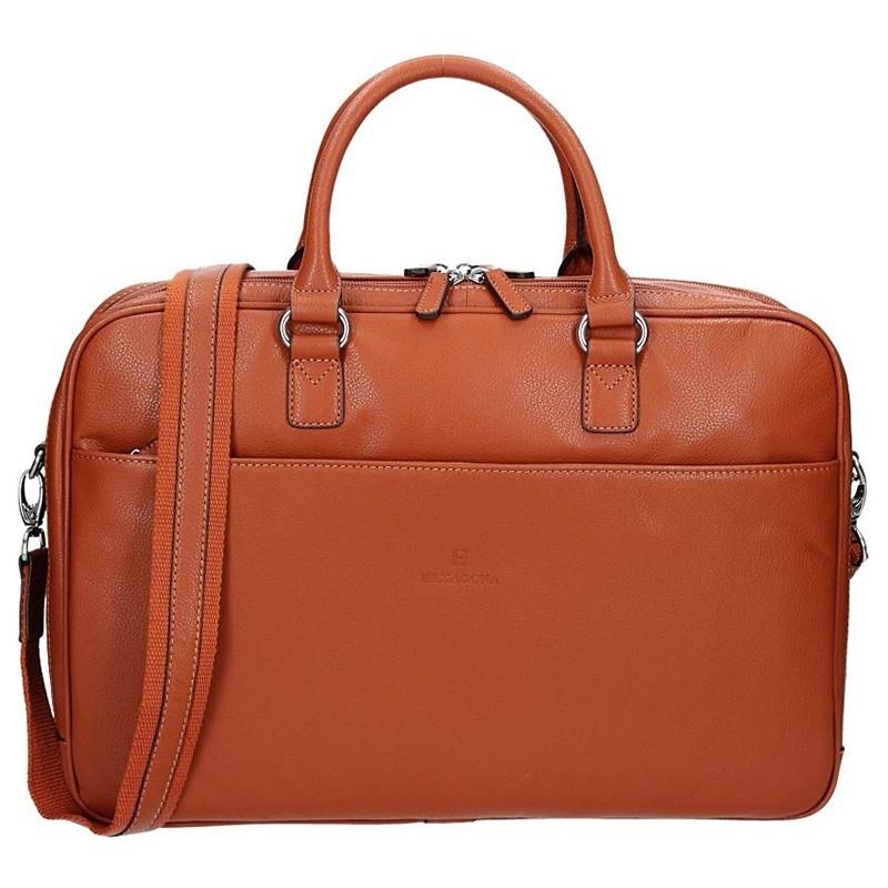 Pánská kožená taška přes rameno Hexagona Moon - oranžovo-hnědá