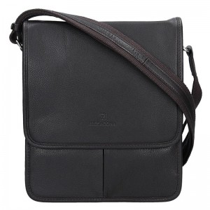 Pánská kožená taška na doklady Hexagona 469548 - tmavě hnědá