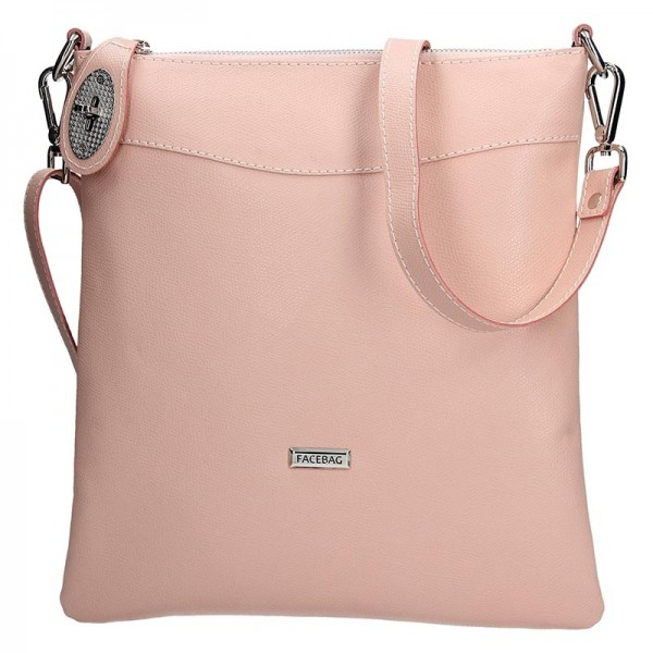 Dámská kožená crossbody kabelka Facebag Amanda - růžová