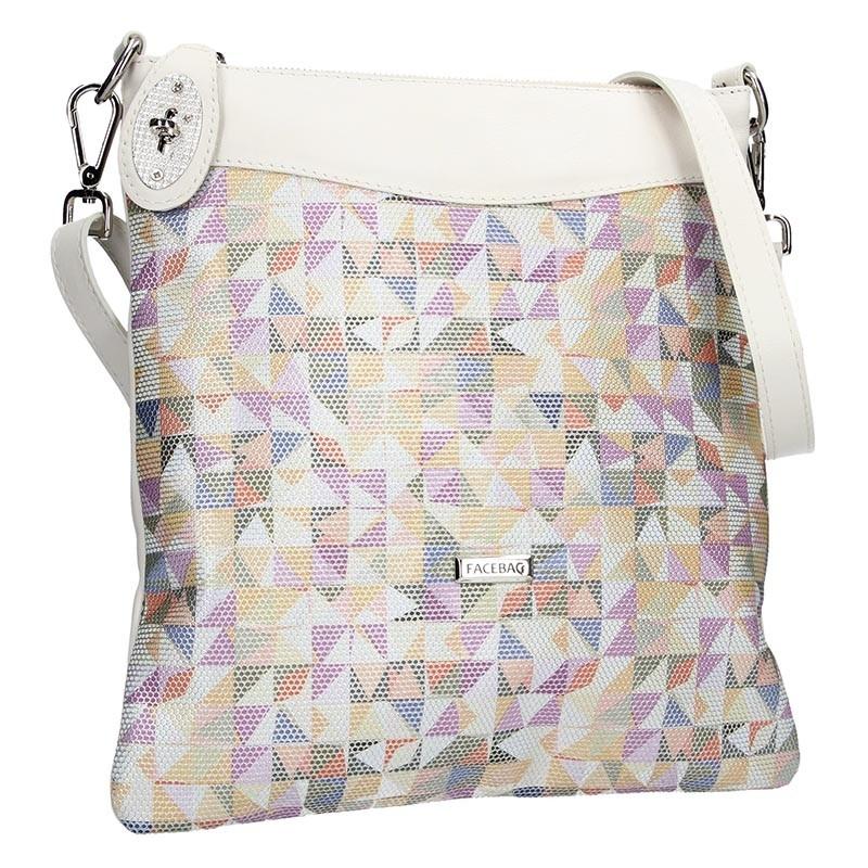 Dámská kožená crossbody kabelka Facebag Amanda - béžová