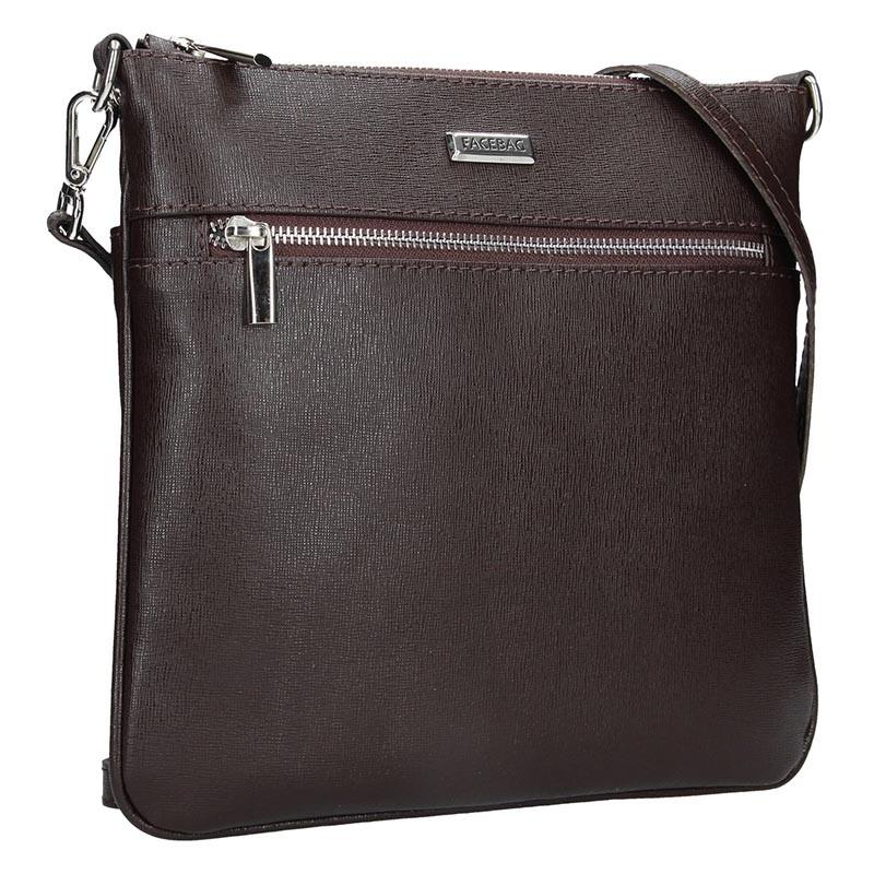 Dámská kožená crossbody kabelka Facebag Paula - tmávě hnědá