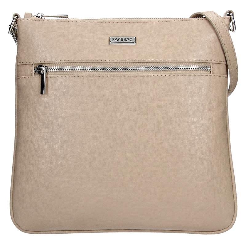 Dámská kožená crossbody kabelka Facebag Paula - béžová