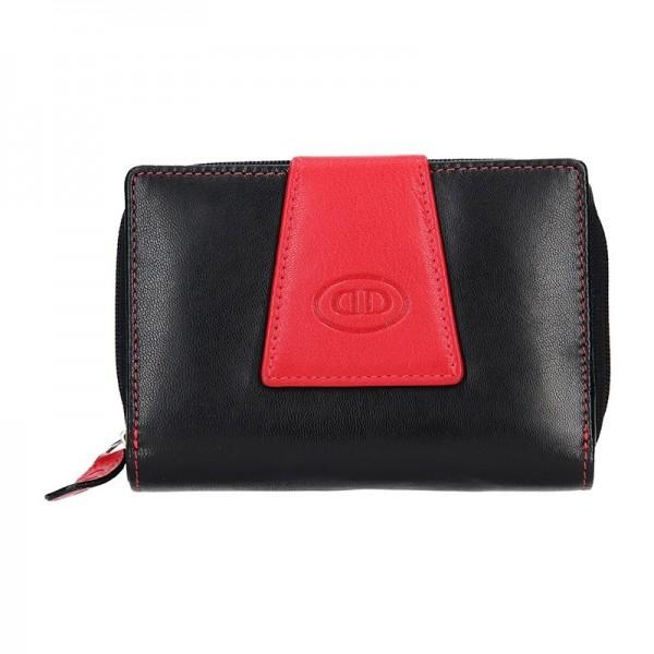 Dámská kožená peněženka DD Anekta Marika - černo-červená