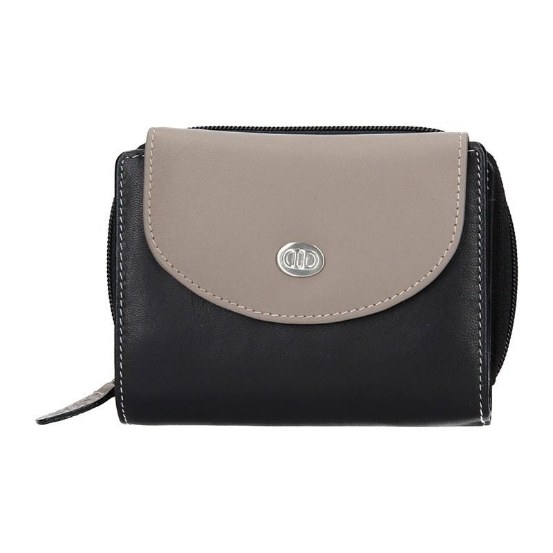 Dámská kožená peněženka DD Anekta Karina - šedo-černá