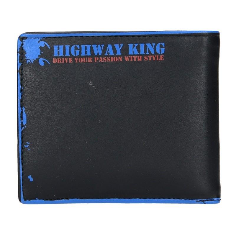 Pánská kožená peněženka DD Anekta Oskar - černo-modrá