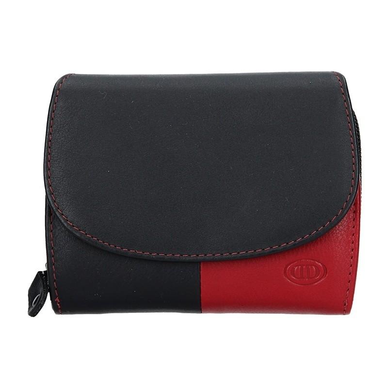 Dámská kožená peněženka DD Anekta Milena - černo-červené
