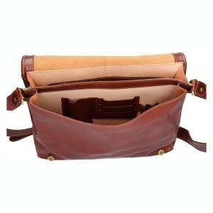 Pánská celokožená taška přes rameno Rovicky Koudy - hnědá