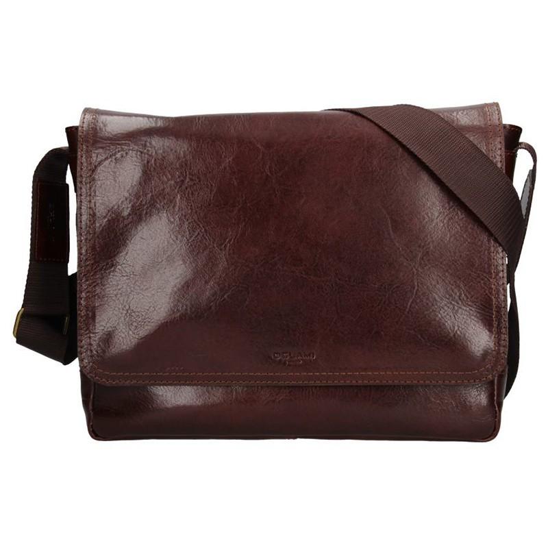 Pánská kožená taška na doklady Delami Levron - hnědá