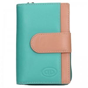 Dámská kožená peněženka DD Anekta Olga - růžovo-zelená