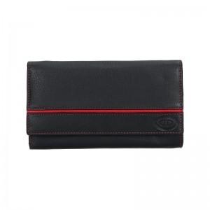 Dámská kožená peněženka DD Anekta Leona - černo-červená