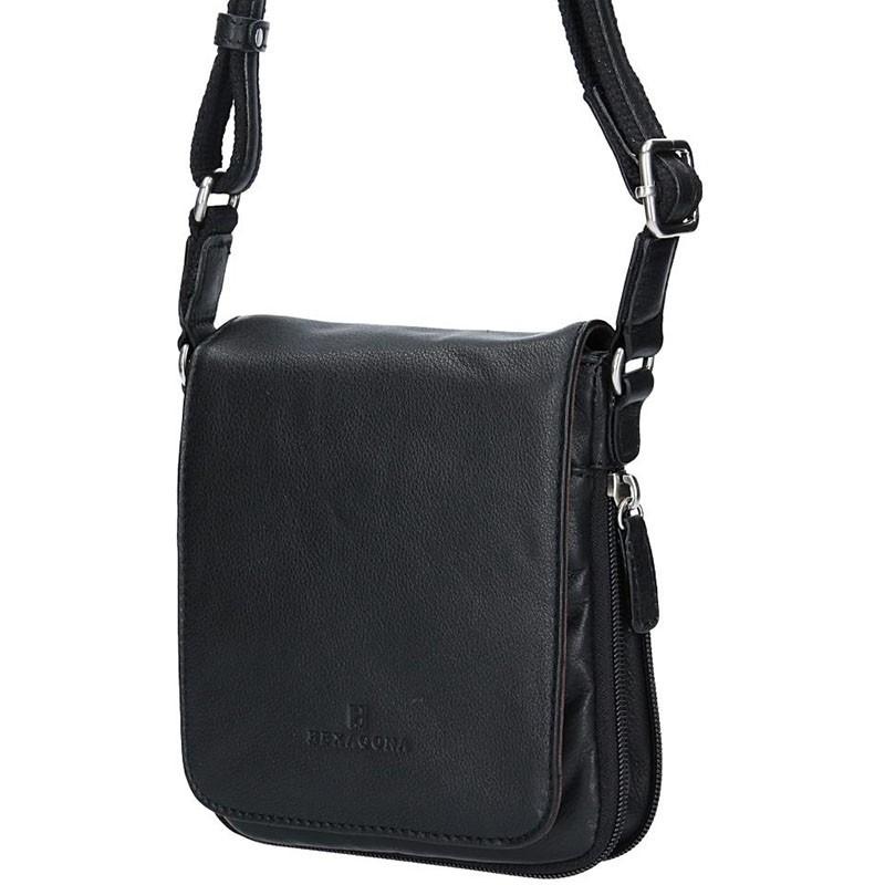Pánská kožená taška na doklady Hexagona Ernest - černá