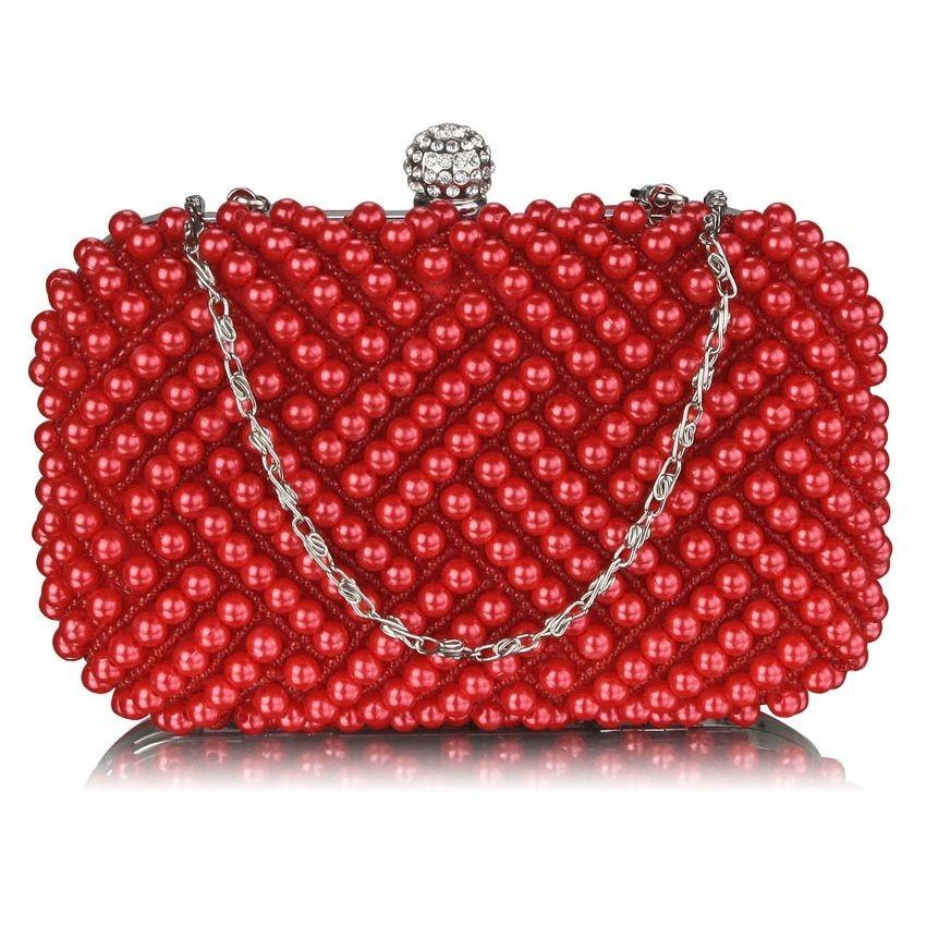Dámské perličkové psaníčko LS Fashion Claire - červená