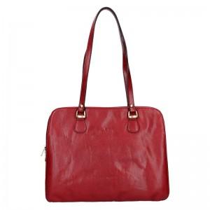 Luxusní kožená dámská kabelka Hexagona 113292 - červená