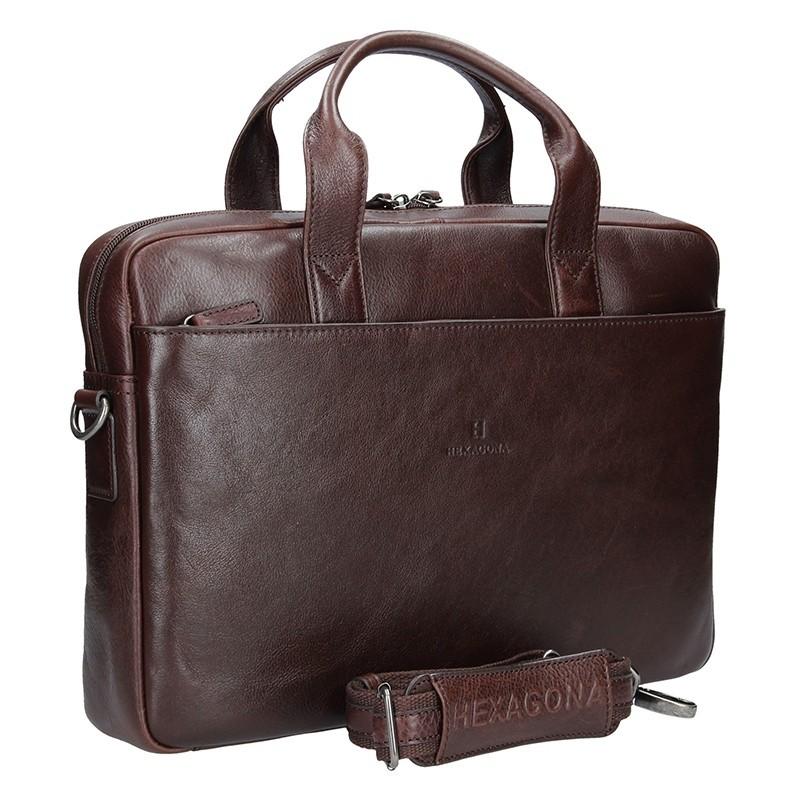 Pánská kožená taška přes rameno Hexagona 129478 - hnědá ee1d8927627