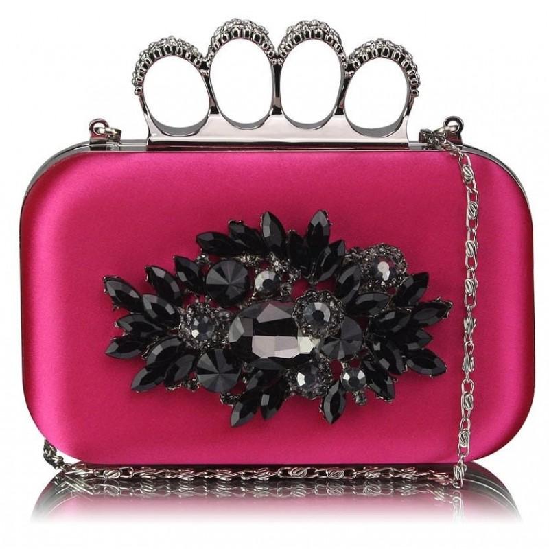 Dámské psaníčko LS Fashion Crystal- růžová