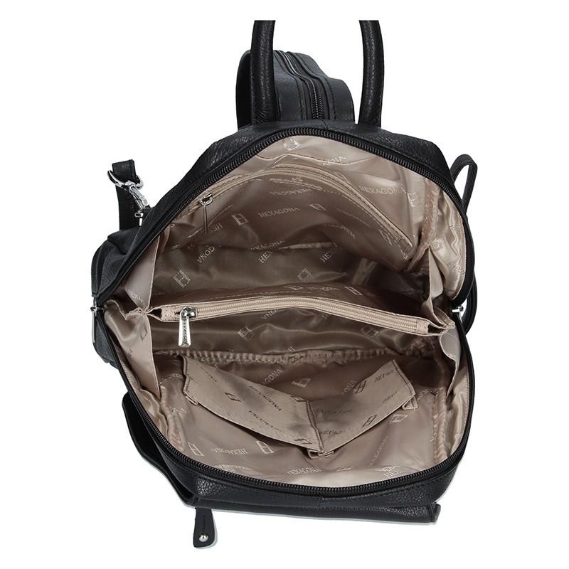 Dámský kožený batoh Hexagona 464783 - černá