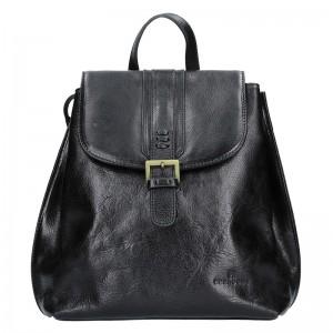 Dámský kožený batoh Hexagona 112194 - černá