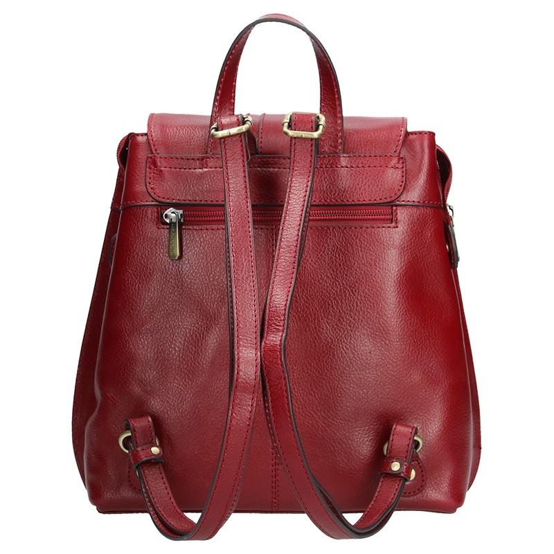 Dámský kožený batoh Hexagona 112194 - vínová